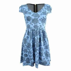 B. Darlin cap sleeve floral fit and flare dress